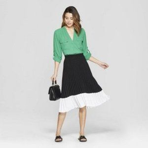 A New Day Colorblock Pleated Skirt XLarge